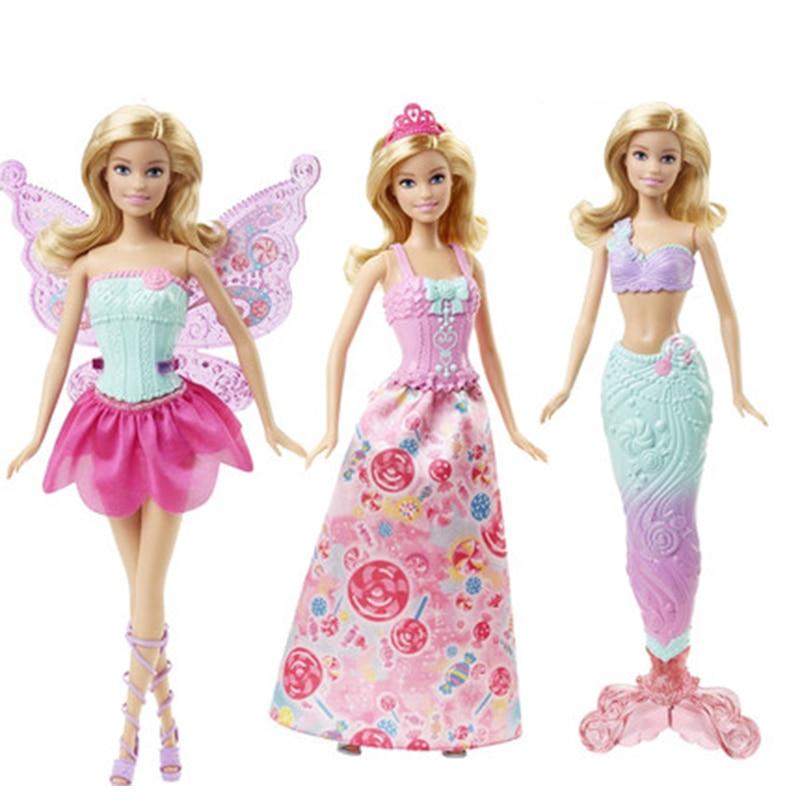 Original Barbie Fairytale Mermaid Dress Up Doll Girl Toys Gift Set Birthday Christmas Present Toys Gift