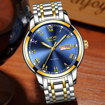 LIGE Fashion Women Watches Ladies Top Brand luxury Waterproof Gold Quartz Watch Women Stainless Steel Date Wear Gift Clock+Box