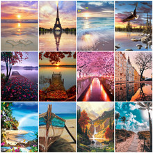 Sunset Seascape Diamond Pictures Diy Full Square Round Mosaic Rhinestone Wall Art Canvas Picture For Living Room Home Decoration(China)