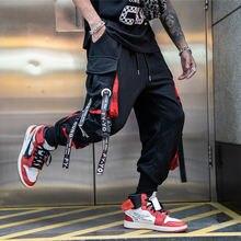 Джоггеры мужские в стиле хип хоп брюки карго с лентами и надписями