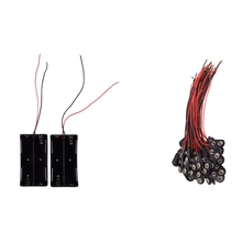 2Pcs 2 X 18650 3.7V Battery Holder Case with Wire Leads & 50 Pcs 2 Wire Terminals 9V Batteries Clip Connectors Holder