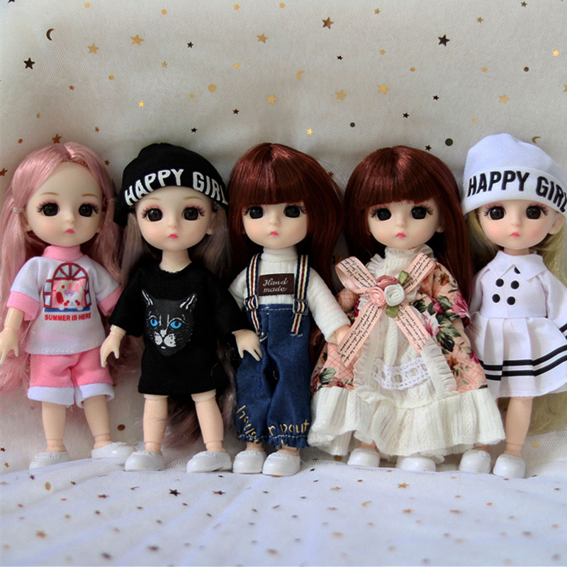 5pcs Fashion 16cm BJD Movable 13 Ball Jointed Dolls with Hair DIY Dress Toys