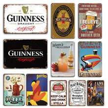 Beer Stickers Tin Sign Vintage Whiskey Poster Metal Plate Decor Plaque Retro Tiki Bar Pub Decoration Chic Room Wall Painting