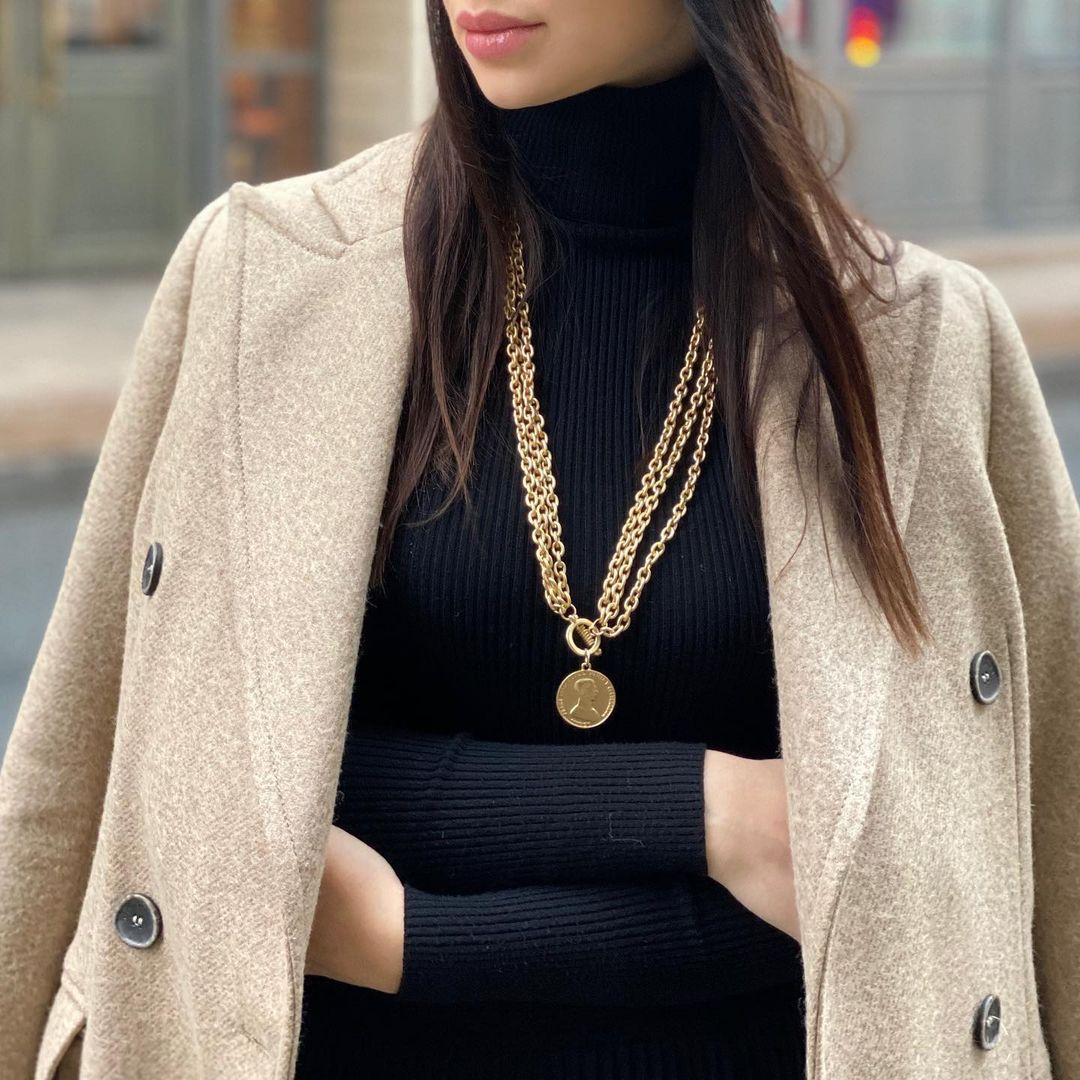 Flashbuy золото Цвет цепи ожерелье для мужчин и женщин, сплав, металлическая монета с портретом кулон ожерелье Модные ювелирные изделия из жемч...
