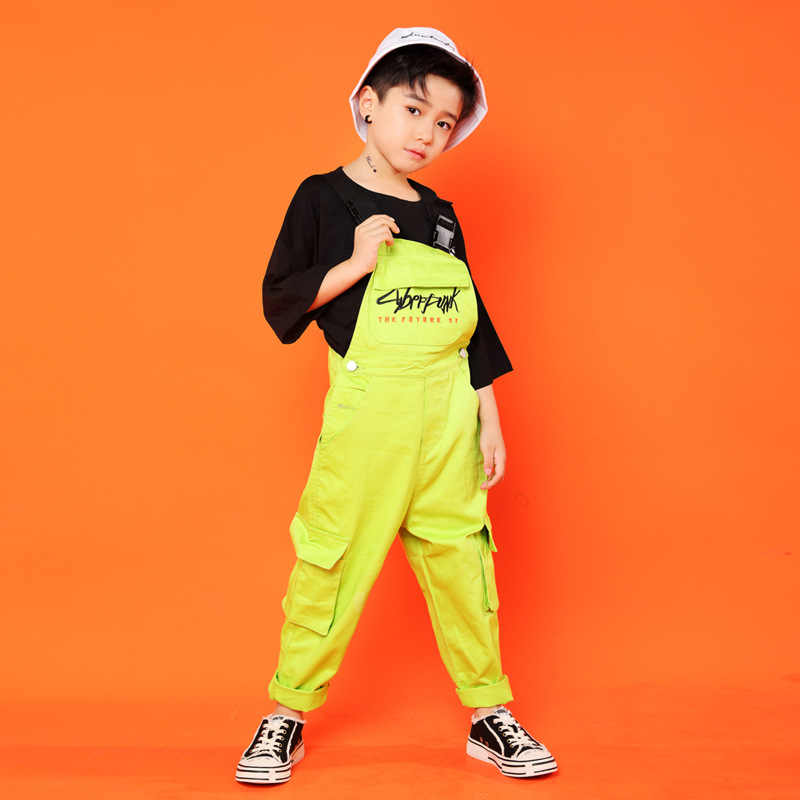 Ropa de Hip Hop para chico, camisetas casuales negras, pantalones sueltos para niñas, trajes de baile de Jazz, ropa para baile de salón
