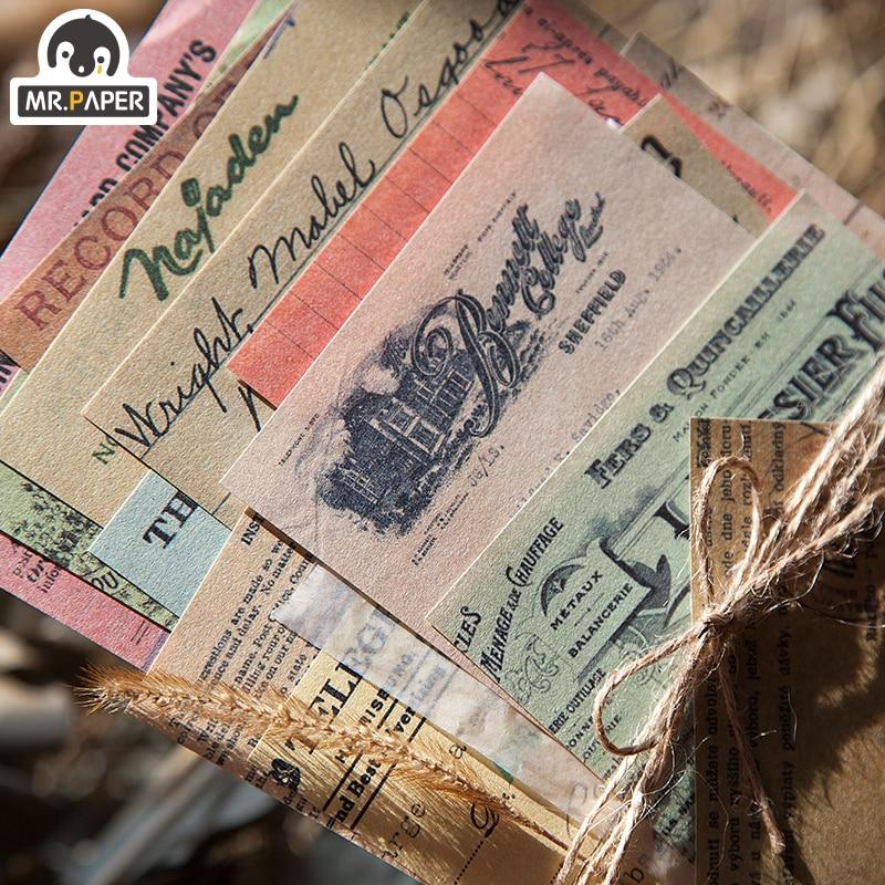 Mr.paper 60pcs/lot Antique Collage Light Paper Kraft Card Journaling Bullet Scrapbooking Material Paper Fresh Words LOMO Cards 3