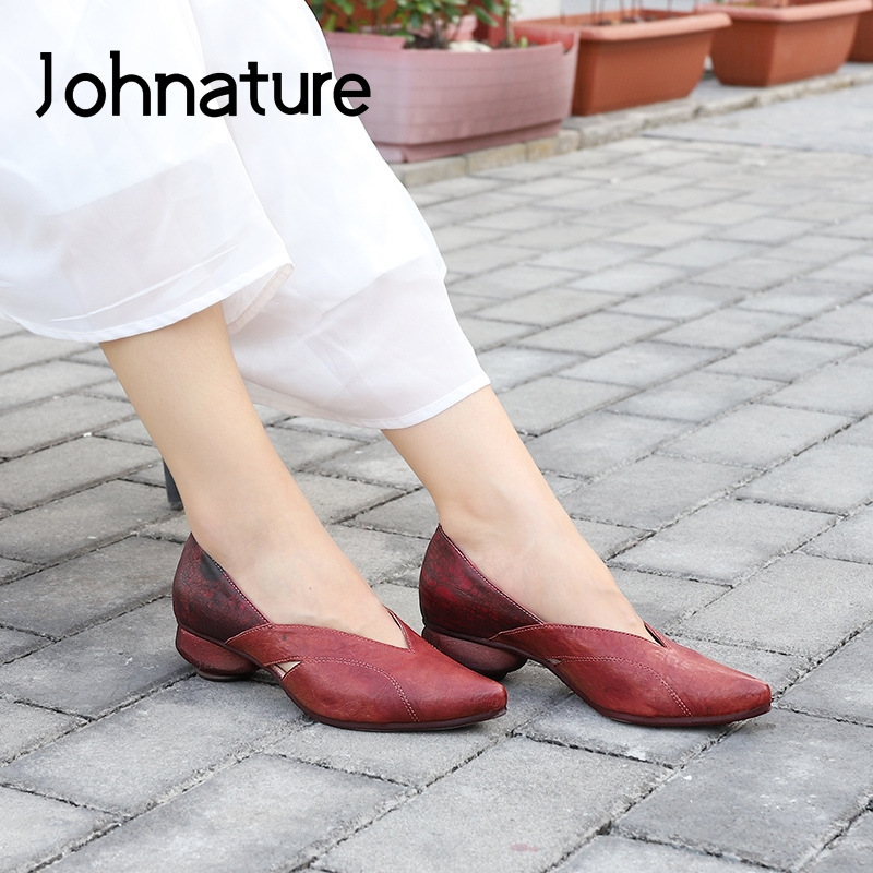 Johnature Pumps Women Shoes Retro Genuine Leather Platform Heels 2020 New Spring Sewing Pointed Toe Leisure Concise Ladies Shoes