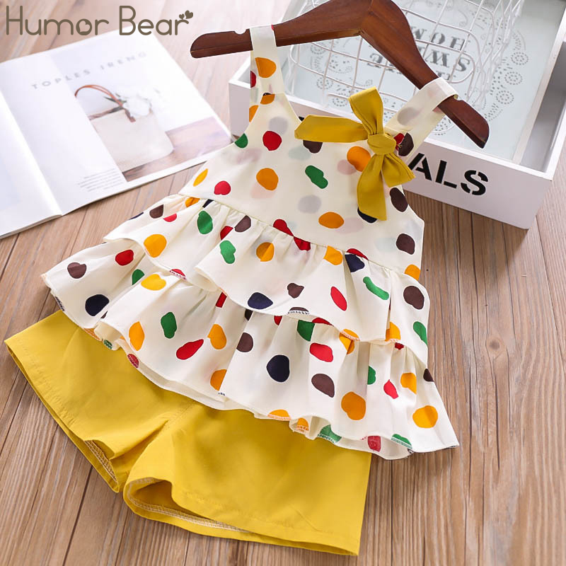 Humor Bear Baby Girls Clothes Suit 2019 Brand NEW Summer Toddler Girl Clothes Dot Bow Vest T-shirt Tops+Shorts Pants 2Pcs Set