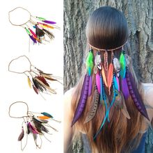 Bohemian Style Feather Headband for Women Fashion Hippie Headdress Hair Band Festival Hairdressing Ornament Accessories Hot