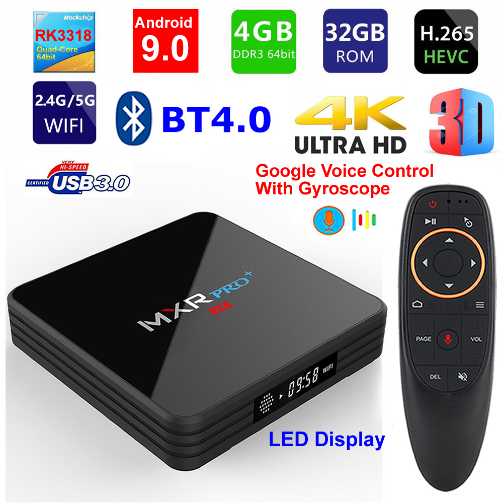 MXR PRO Plus Android 9.0 Smart TV BOX RK3318 Quad Core 4G/32G LED Display 3D 4K USB 3.0 BT4.0 2.4G/5G Dual WIFI Set Top Box-in Set-top Boxes van Consumentenelektronica op  Groep 1