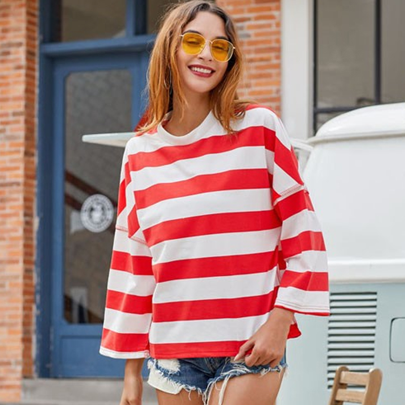 BEFORW 2019 Autumn Women Red Striped T Shirt Tee Winter Casual Stylish Loose Fitting Thick Stripes T Shirts Pullover in T Shirts from Women 39 s Clothing