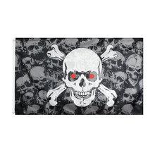 Черный пиратский череп ворс флаг с черепом человека и костями