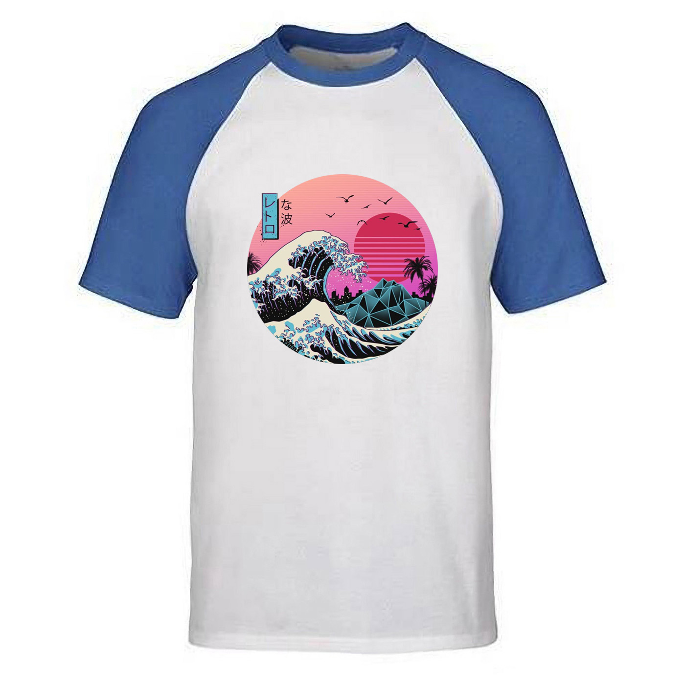 Tshirt Men The Great Retro Wave Japan Anime Vaporwave T Shirt Tshirts Summer Tops Classic Painting Short Sleeve Harajuku Tee image