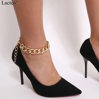 Lacteo Punk Thick Chunky Chain Anklet for Women Statment Fashion Anklet Hip Hop Golden Cross Chain Charm Anklet Female Jewelry