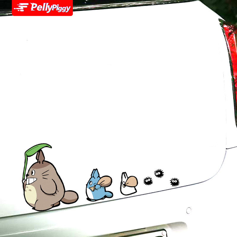 Totoro Cartoon Car Sticker totoro play with friends Lovely Car Styling Sticker Reflective Vinyl Decal Auto Decoration Decals image