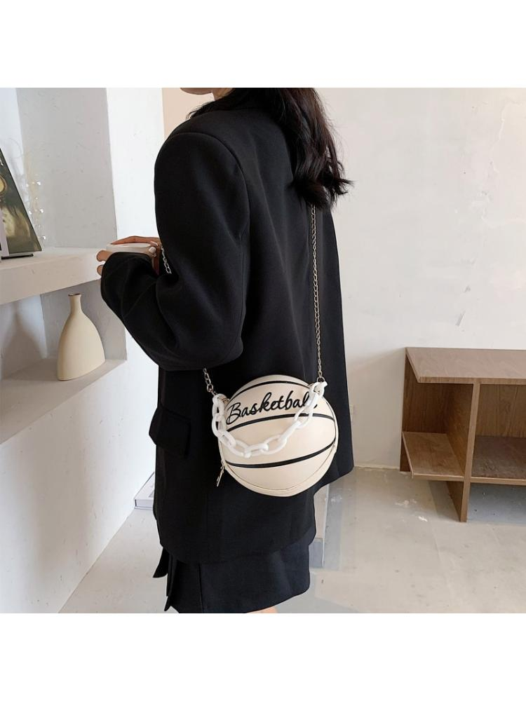 Женская круглая баскетбольная сумка через плечо из искусственной