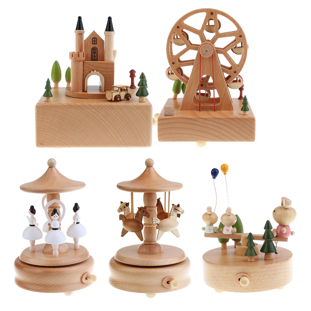 Wood Musical Box Customized Gift for Friends Lover Children - Plays ''Castle In The Sky'' Song image