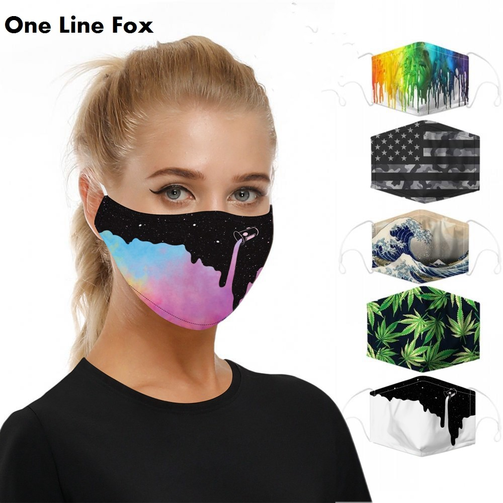 OneLineFox Galaxy Space Face Mask Printed Masks Fabric Adult Protective PM 2.5 Dust Mouth Cover Washable Reusable Mouth Mask