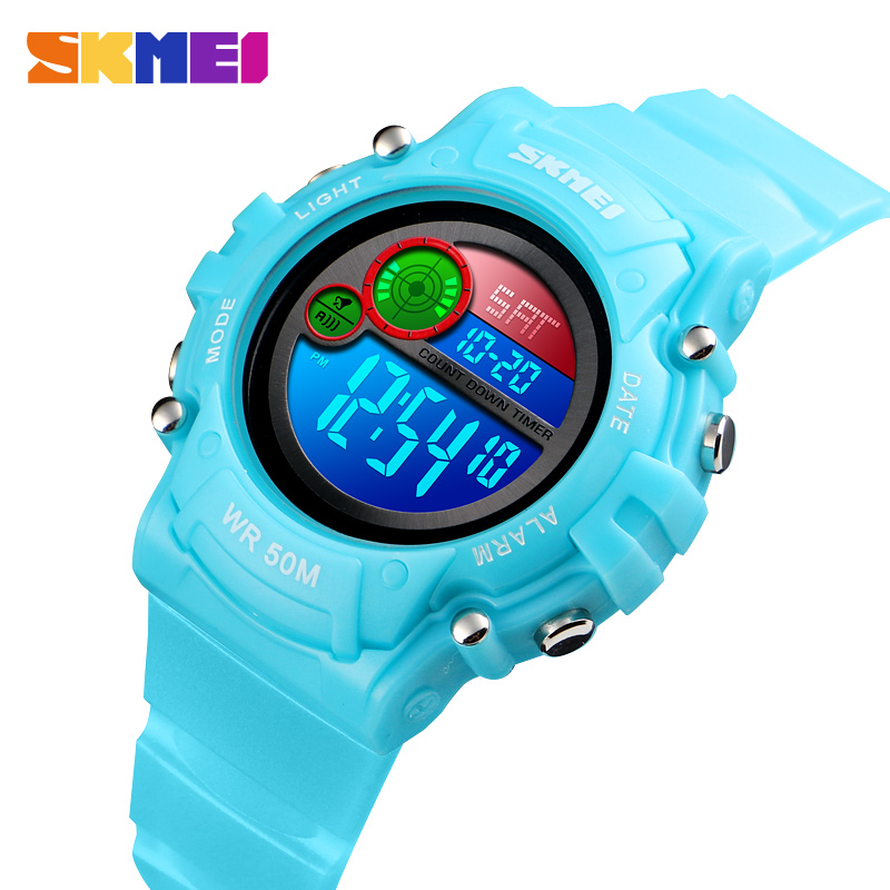 SKMEI Children LED Electronic Watch 50M Waterproof Kids Digital Wristwatch Chronograph Countdown Sport Watches For Boyer Girls