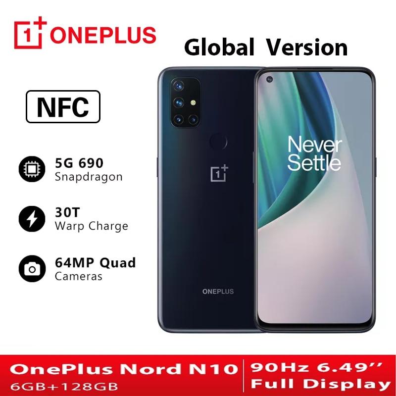 Глобальная версия OnePlus Nord N10 5G телефонов Celulares 6 ГБ 128 Snapdragon 690 смартфон 90 Гц Дисплей 64MP Quad камеры NFC