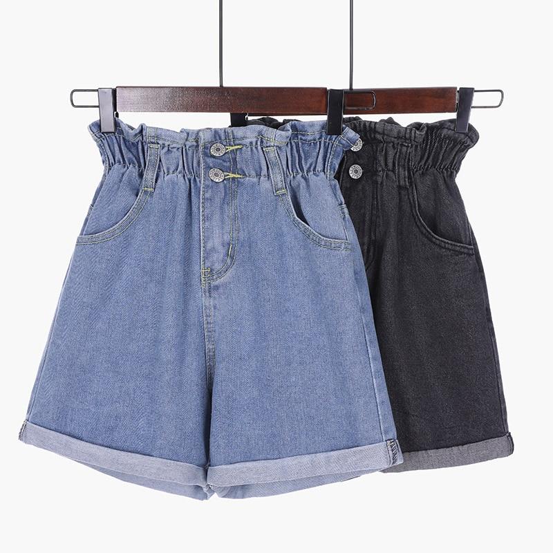 Summer Plus Size High Waisted Denim Shorts Women Korean Casual Loose Ladies Fashion Elastic Waist Blue Black Jeans Short Female