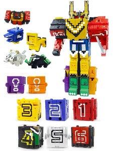Image 1 - Cubo di Assemblaggio Blocchi di Costruzione Giocattoli Educativi Action Figure Trasformazione Numero di Robot di Deformazione Robot Giocattolo per I Bambini