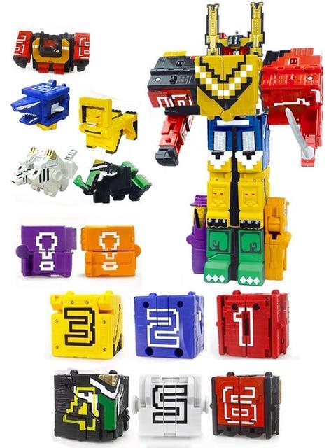 Cubo di Assemblaggio Blocchi di Costruzione Giocattoli Educativi Action Figure Trasformazione Numero di Robot di Deformazione Robot Giocattolo per I Bambini