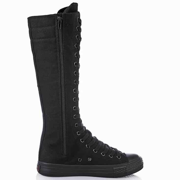 2019 ใหม่ฤดูใบไม้ร่วงฤดูหนาวบู๊ทส์รองเท้าผู้หญิงรองเท้ายาวรองเท้าข้ามผูกเข่ารองเท้าสบายผู้หญิงรองเท้า