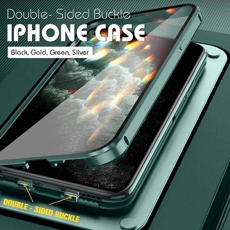 Двухсторонний противоударный чехол с пряжкой для телефона iPhone 11 12 Pro Max 12Mini XS XR X, стеклянный прозрачный чехол с полной защитой объектива