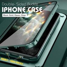 Duplo-face fivela à prova de choque caso do telefone para o iphone 11 12 pro max 12mini xs xr x vidro lente completa proteção transparente capa