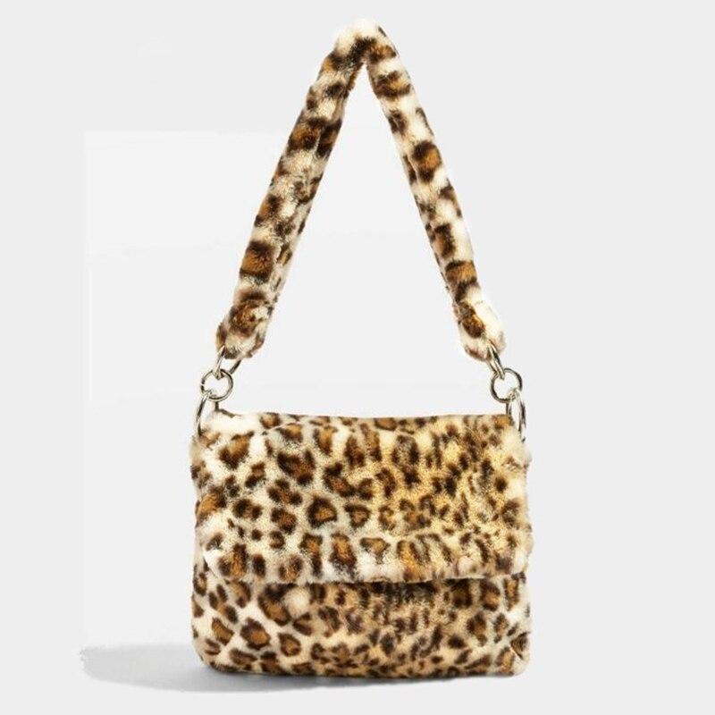 Bolsa de Pele Animal Impressão Leopardo Bolsa Senhoras Inverno Quente Crossbody Bolsas Famosa Marca Grande Capacidade Shoudler Embreagem 2020 Novo