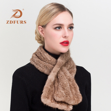 ZDFURS* Hot sale Real Mink Fur Scarf Women Natural Scarves  Quality Unisex Genuine Knitted Shawl scarves