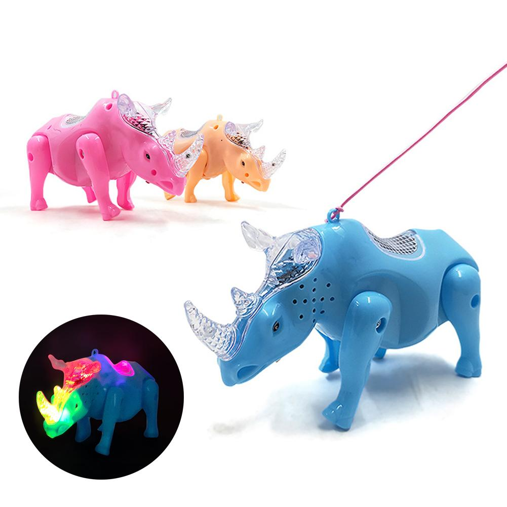 Electric Walking Musical Flashing LED Rhino Animal Toy With Leash Kids Educational Toys For Children Gift