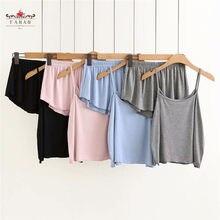 Mulheres Conjuntos de Pijama Ternos Soltos Sling Shorts Para Lady Homewear Roupas Sleepwear Verão Ocasional Solto Camisola Cor Sólida Feminino