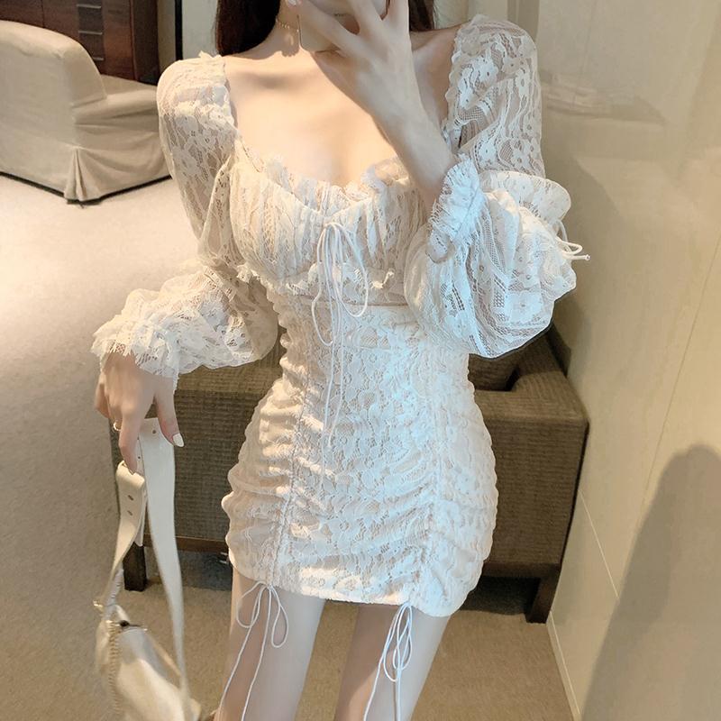 2021 в винтажном стиле со шнуровкой на шнуровке с рюшами пакет бедра кружевное короткое платье; белый женский сексуальный с бретельками с дра...