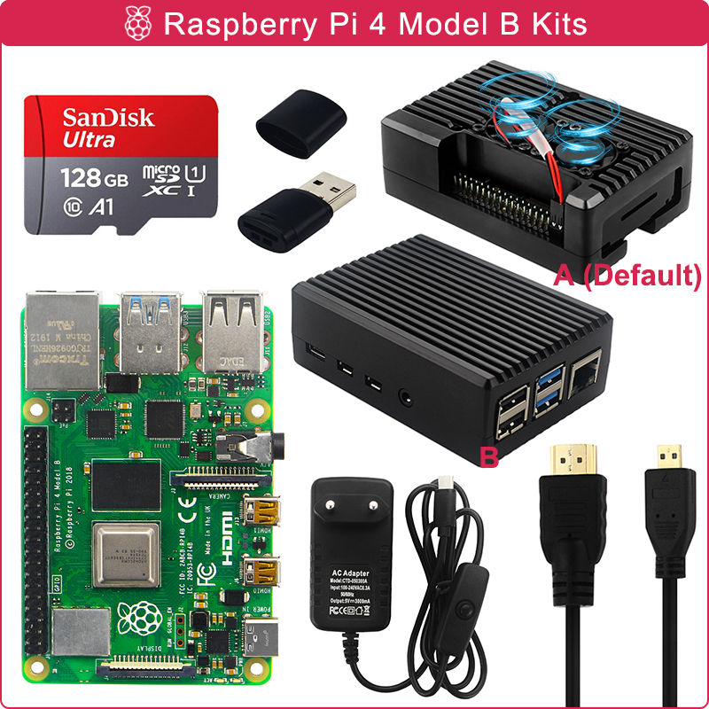 Raspberry Pi 4 Model B 2/4/8GB RAM + Aluminum Case + Power Supply + 16/32/64/128GB SD Card + HDMI-compatible Cable for RPI 4