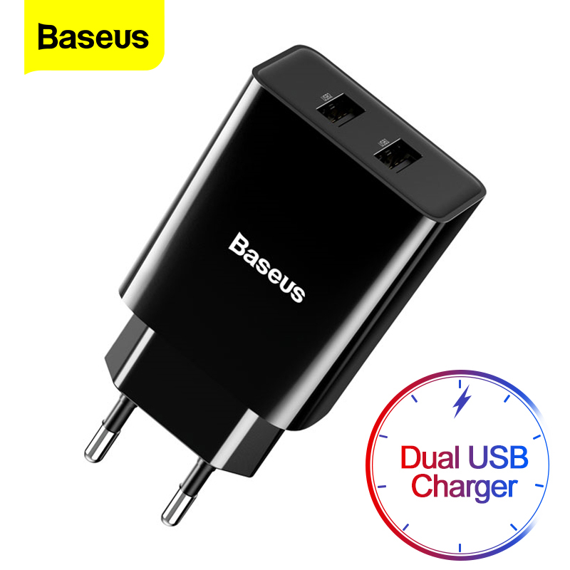 Baseus Dual USB Charger For iPhone 11 Pro Max X 8 6 Fast Charger For Samsung S9 Xiaomi mi 8 Huawei Mate 30 Mobile Phone Charger