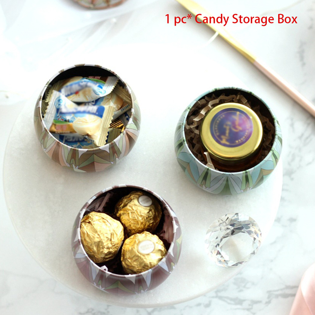 Christmas Small Party Gift Candle Home Decorative Tea Candy Storage Box Jewelry Display Iron Gold Plated Wedding Ornament Jar