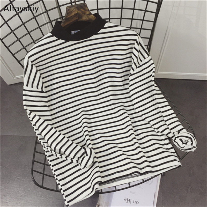 T-shirts Women Striped Loose Simple All-match Korean Style Leisure Daily Trendy Soft T-shirt Womens High Quality Retro Tees New