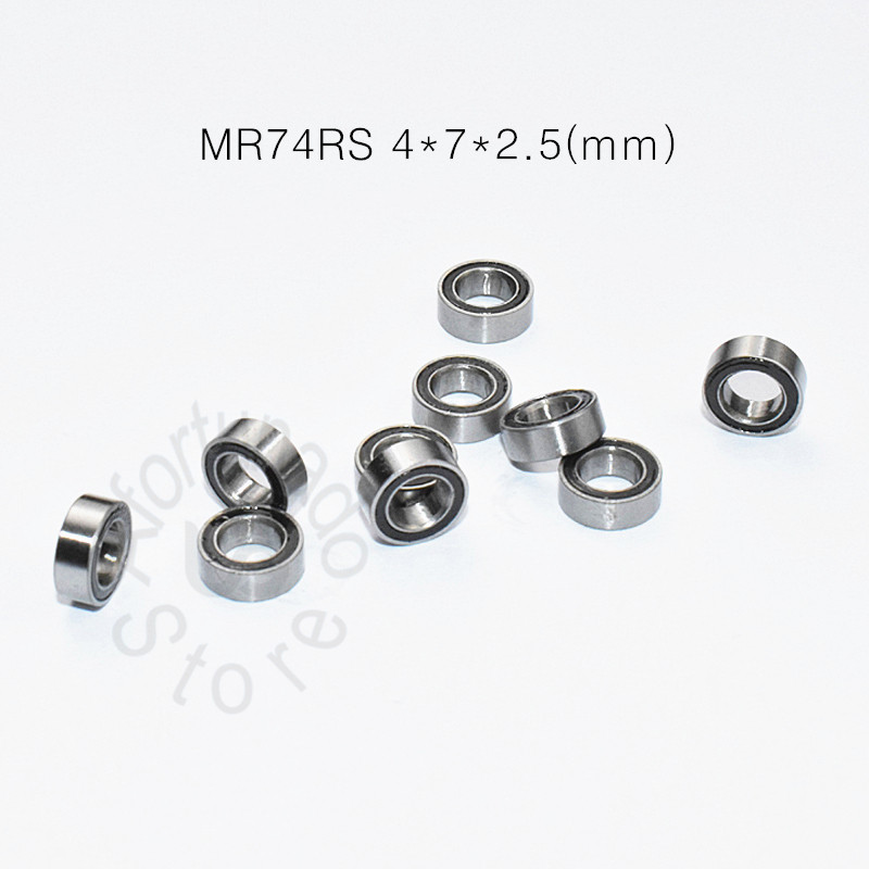 MR74RS 4*7*2.5(mm) 10pieces Free Shipping Bearing ABEC-5 Rubber Sealed Miniature Mini Bearing MR74 MR74RS Chrome Steel Bearing
