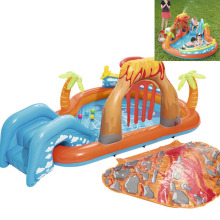 Inflatable Play Center Pool Seaside Water Play Center with Water Slide Coconut Palm Sprinkler Ball Toss Game Ring Toss Game