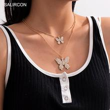 Salircon kpop Luxury Crystal Butterfly Pendant Necklace Aesthetic Rhinestone Gold Color Chain Necklace for Women Jewelry Gifts