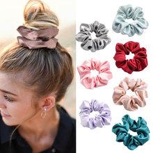 4 unids/lote de seda Saten Scrunchies cintas elastica de goma para el pelo mujer de las ninas de cola de caballo titular