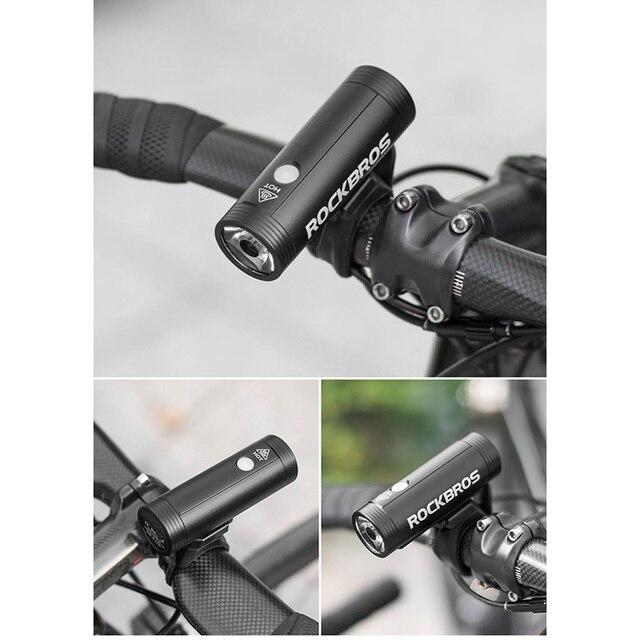 Rockbros farol para bicicleta de 400lm, 800lm, usb, recarregável, luz dianteira, à prova d' água, energia, ciclismo, mtb, lanterna para bicicleta 6