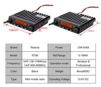 """ווקי טוקי RETEVIS RT98 רכב נייד רדיו ווקי טוקי VHF (או UHF) 15W 199CH דו כיוונית רדיו חובבים רדיו LCD התצוגה של הרדיו באוטו מקמ""""ש (2)"""