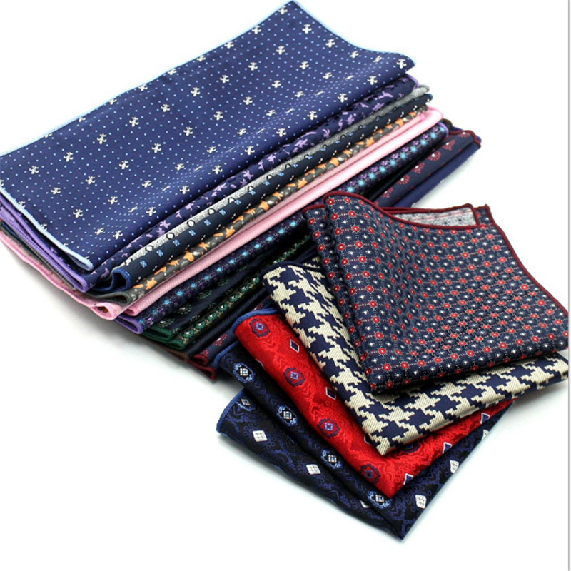 23cm*23CM Luxury Men's Handkerchief Polka Dot Striped Floral Printed Hankies Polyester Hanky Business Pocket Square Chest Towel