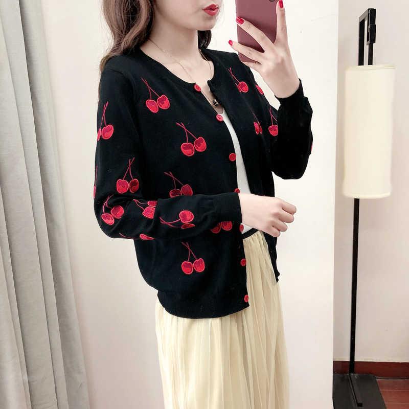 Neploe cereja bordado casaco de malha manga longa curto mais tamanho tricô cardigans 2020 outono feminino suéter casacos 45294