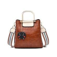 2019 New Fashion Stone Pattern Bucket Bag Female PU Soft Leather Handbag Fashion Handbag Shoulder Messenger Bag Messenger Bag