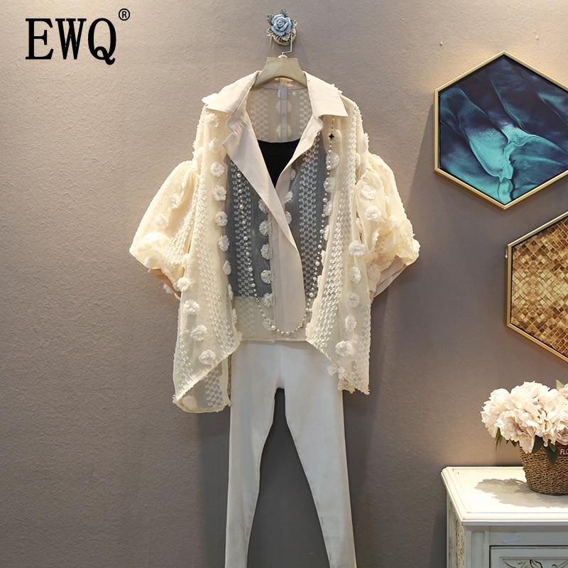 EWQ 2020 Spring Summer New Blouse Turn Down Collar Puff Sleeve Appliques Solid Pattern Women Fashion Casual Shirt AW76312