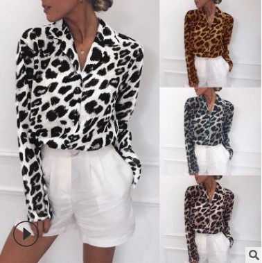 Chiffon Blouse Long Sleeve Sexy Leopard Print Blouse Turn Down Collar Lady Office Shirt Tunic Casual Loose Tops Plus Size